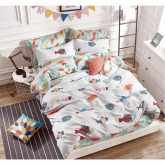 Fitted Bedsheet Set with Quilt Cover 100% Cotton (Queen/King)