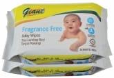Baby Wipes Fragrance Free 2 x 30s